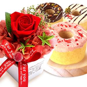 母の日プレゼント 薔薇プリザーブド赤とお菓子【全部】