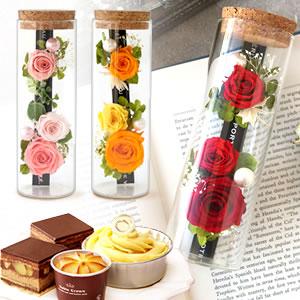 母の日 プリザーブドフラワー 薔薇お菓子セット
