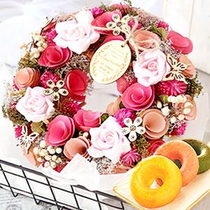 母の日プレゼント 花リースL【ピンカッション】+スイーツ2個