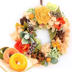 母の日プレゼント リース【オレンジ】+お菓子2個