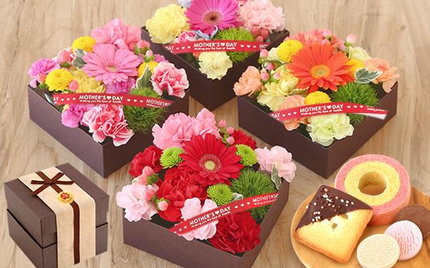 母の日 2021 アレンジ重箱 花とスイーツ