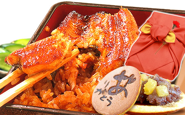 母の日 プレゼント (赤)風呂敷包み 鰻蒲焼きとお菓子