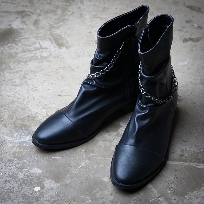 Men's 靴 シューズ 人気【メンズ S/S 最新作】男性用 シンプル チェーン ショート ブーツ デザイン 高級感■scod-1523