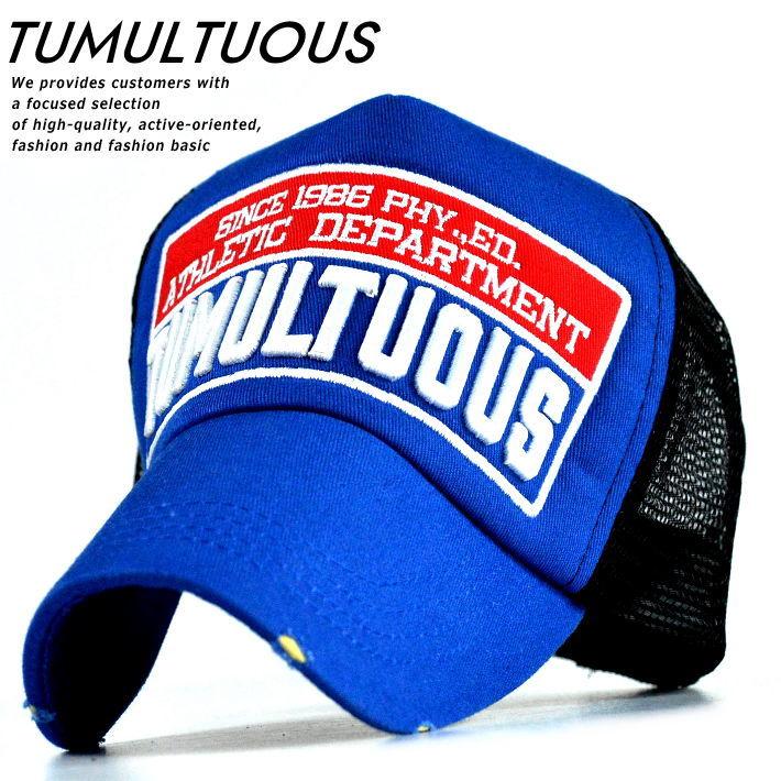 【半額!】メッシュキャップ メンズ レディース 帽子 キャップ アップリケ刺繍 TUMULTUOUS 9683-802 28 ブルー 青 190716