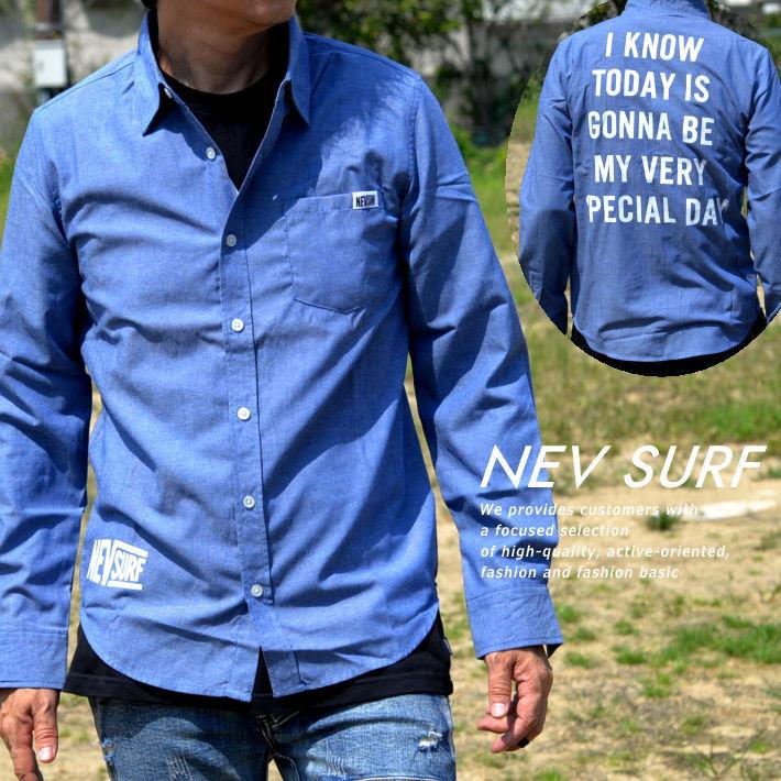 シャンブレーシャツ シャツ メンズ 長袖 背面プリント ダンガリーシャツ デニムシャツ ブランド NEK 送料無料 N49-104 ブルー