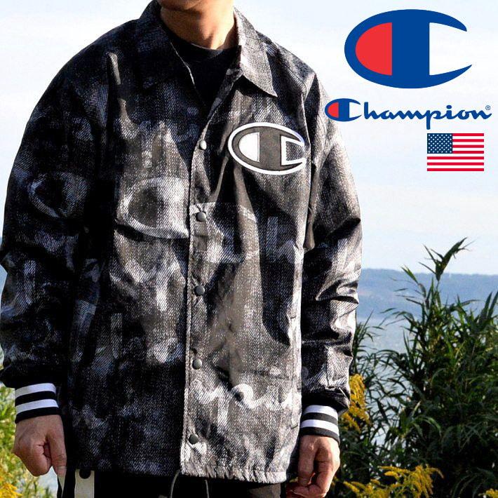 コーチジャケット メンズ チャンピオン CHAMPION 送料無料 ブランド ジャケット 総柄 ストリート CL-V5089P ブラック 黒 191103