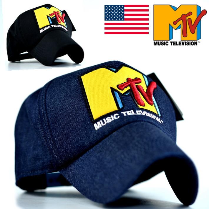 キャップ メンズ レディース 帽子 MTV MUSIC TELEVISION アメリカ発祥 USA ブランド 77MTVC-001 ブラック デニム