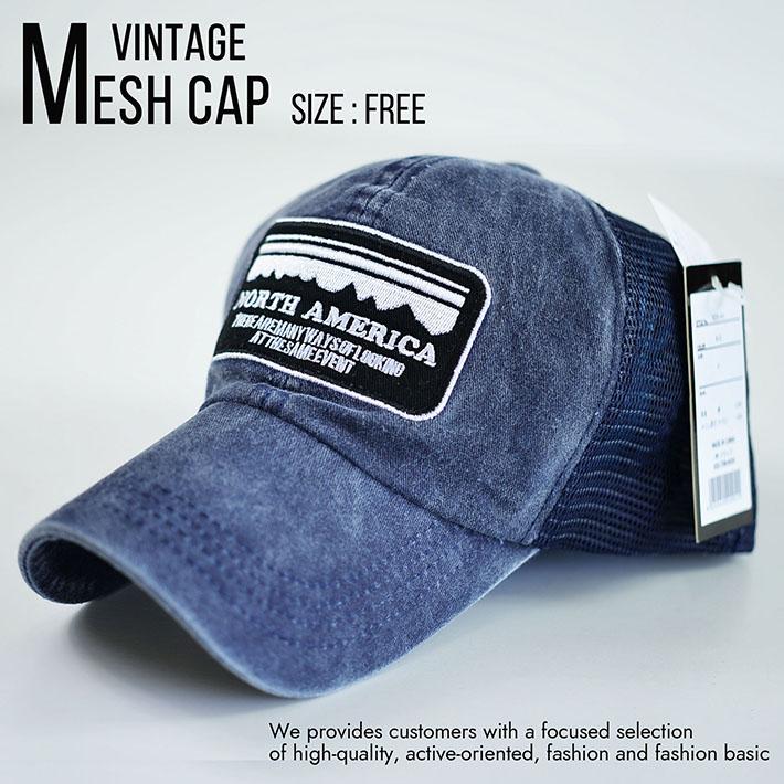 メッシュキャップ キャップ メンズ レディース 帽子 ビンテージ Vintage 刺繍 大きいサイズ対応 820-44 8-5 ネイビー