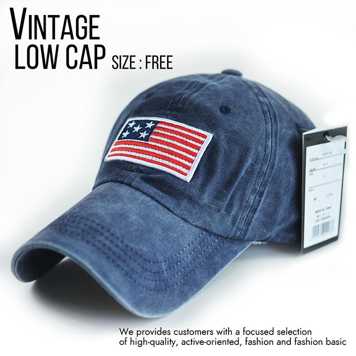 ローキャップ メンズ レディース 帽子 ビンテージ Vintage ミリタリー シンプル こなれ感 820-46 8-4 ネイビー