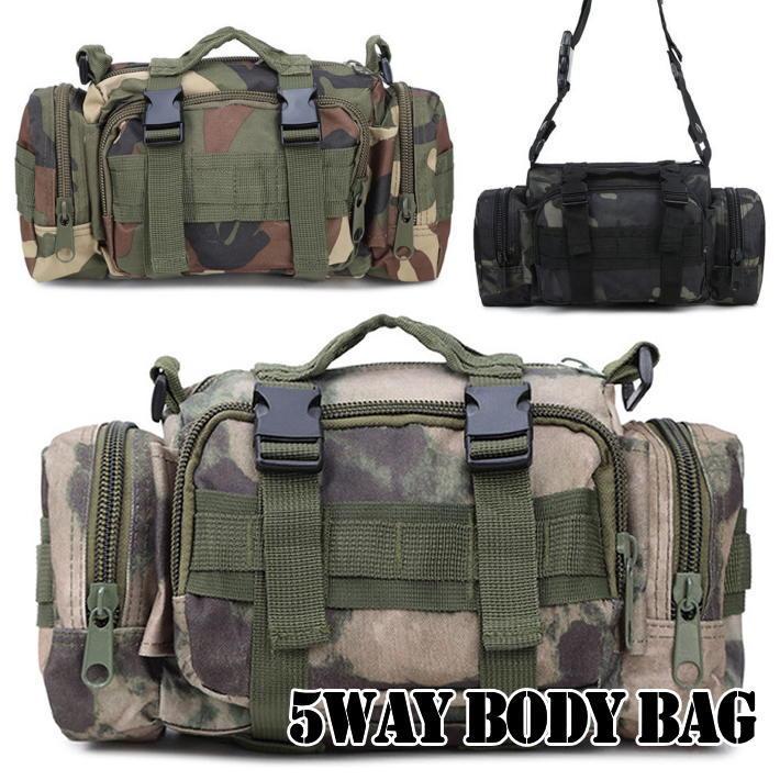 5WAY ボディバッグ メンズ 鞄 かばん カバン ショルダーバッグ 迷彩 カモフラージュ サコッシュ ミリタリー キャンプ アウトドア サバゲ