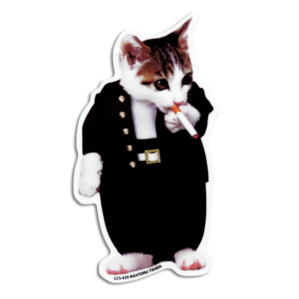 なめ猫 なめねこ ステッカー 車 リアガラス リヤガラス バンパー スマホ 学ラン02 学生服/ゼネラルステッカー LCS-439