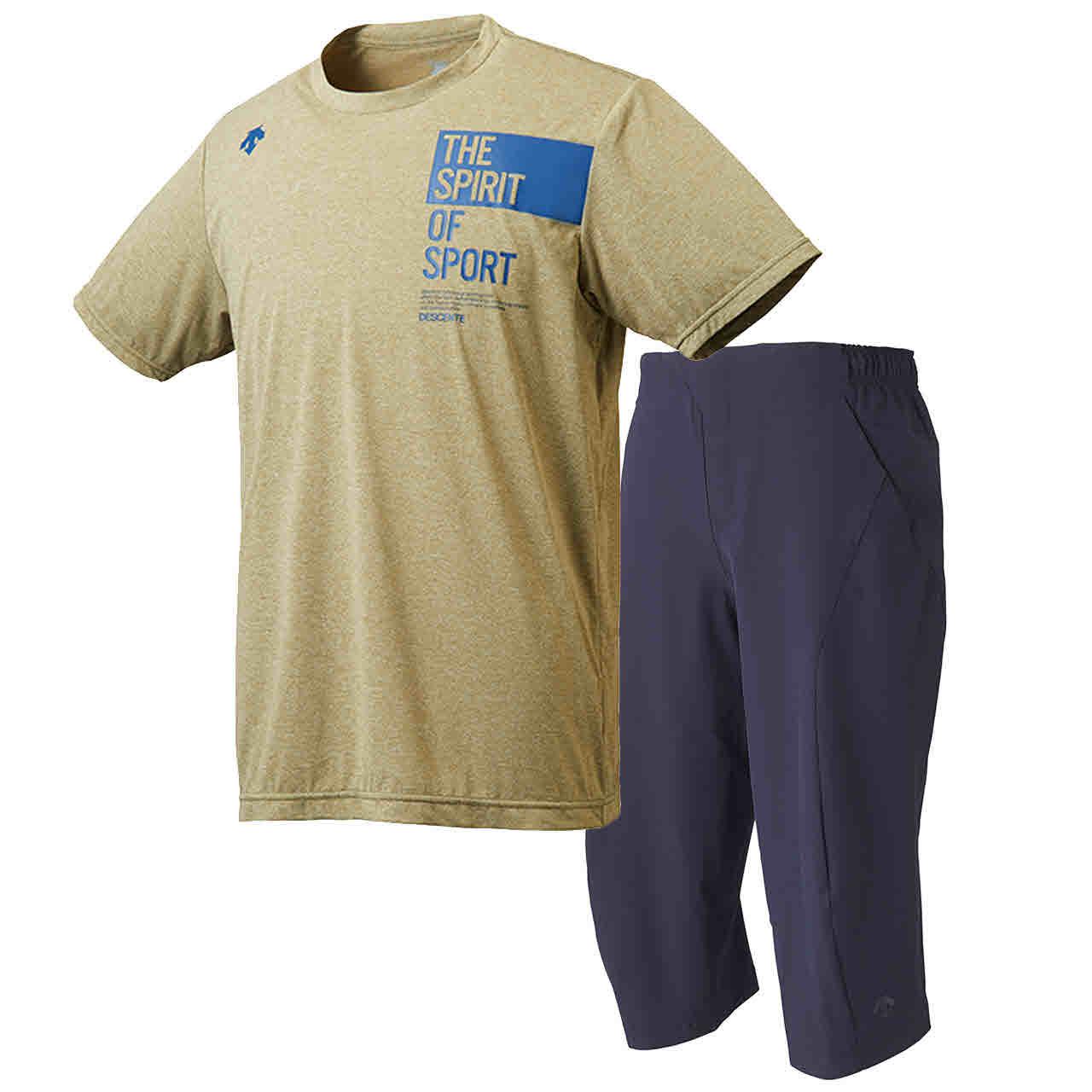 デサント DESCENTE サンスクリーン ハーフスリーブシャツ&7分丈パンツ 上下セット カーキ杢×ネイビー