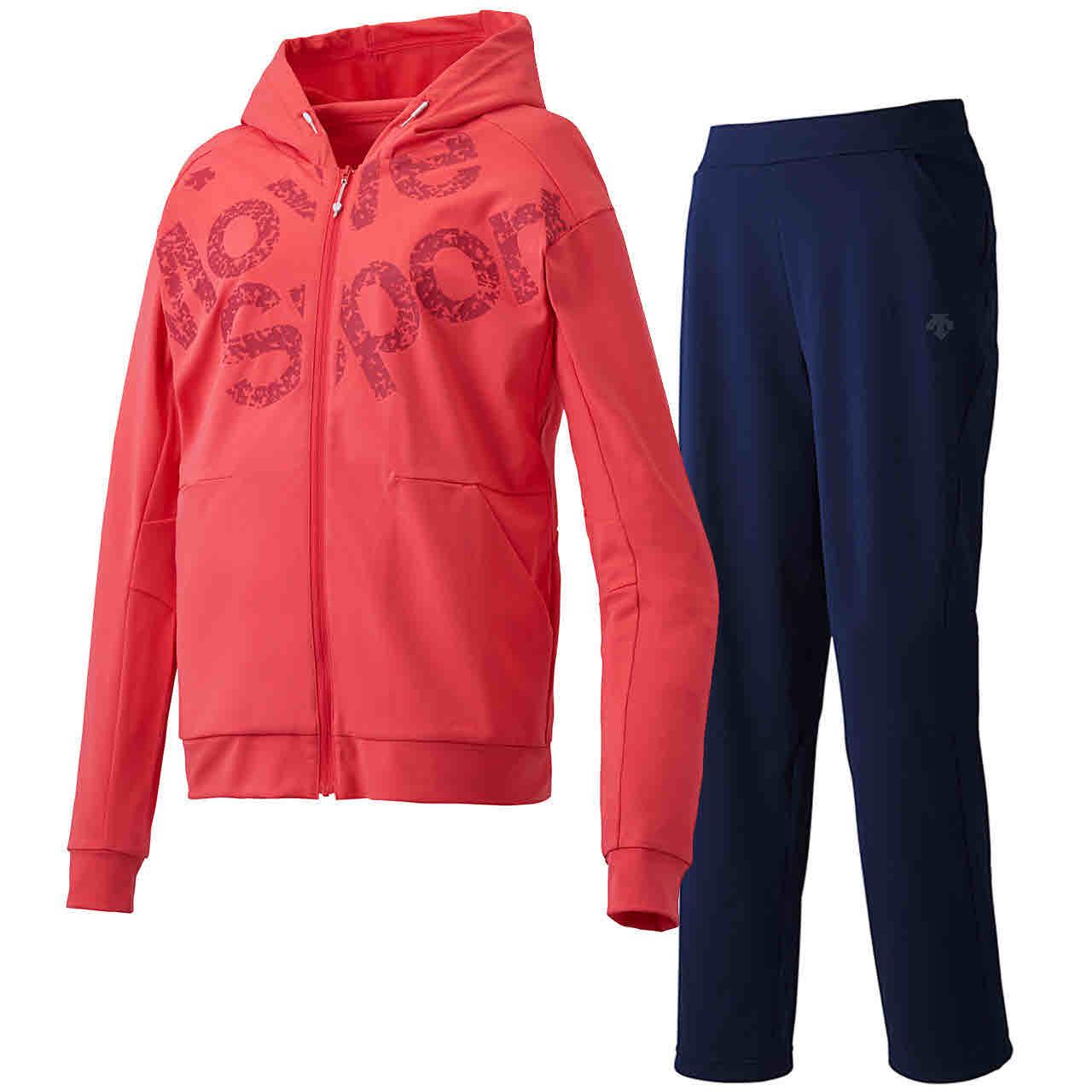 デサント DESCENTE レディース サンスクリーン トレーニングジャケット&ロングパンツ上下セット ピンク×ネイビー