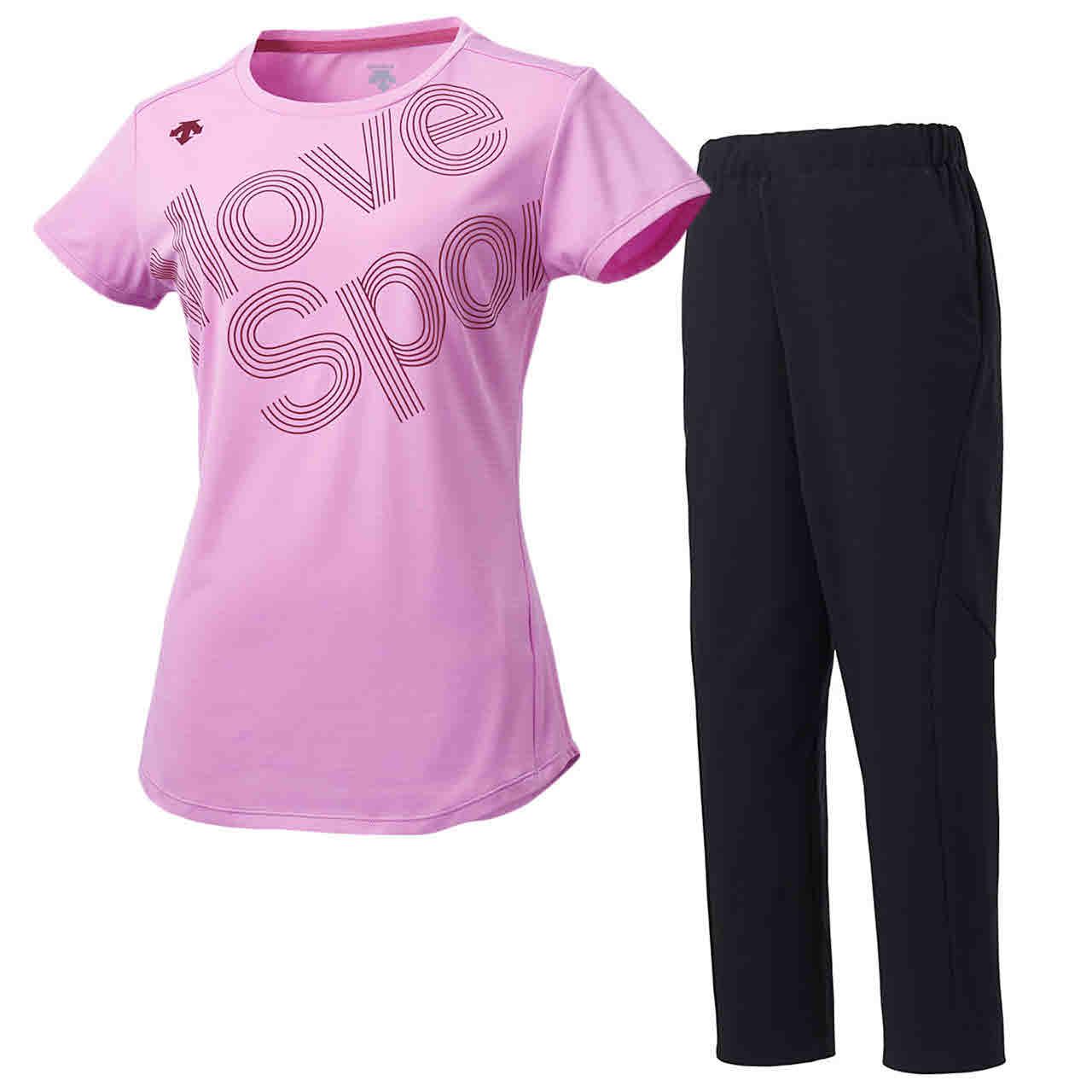 デサント DESCENTE レディース サンスクリーン 半袖Tシャツ&ロングパンツ上下セット ピンク×ブラック