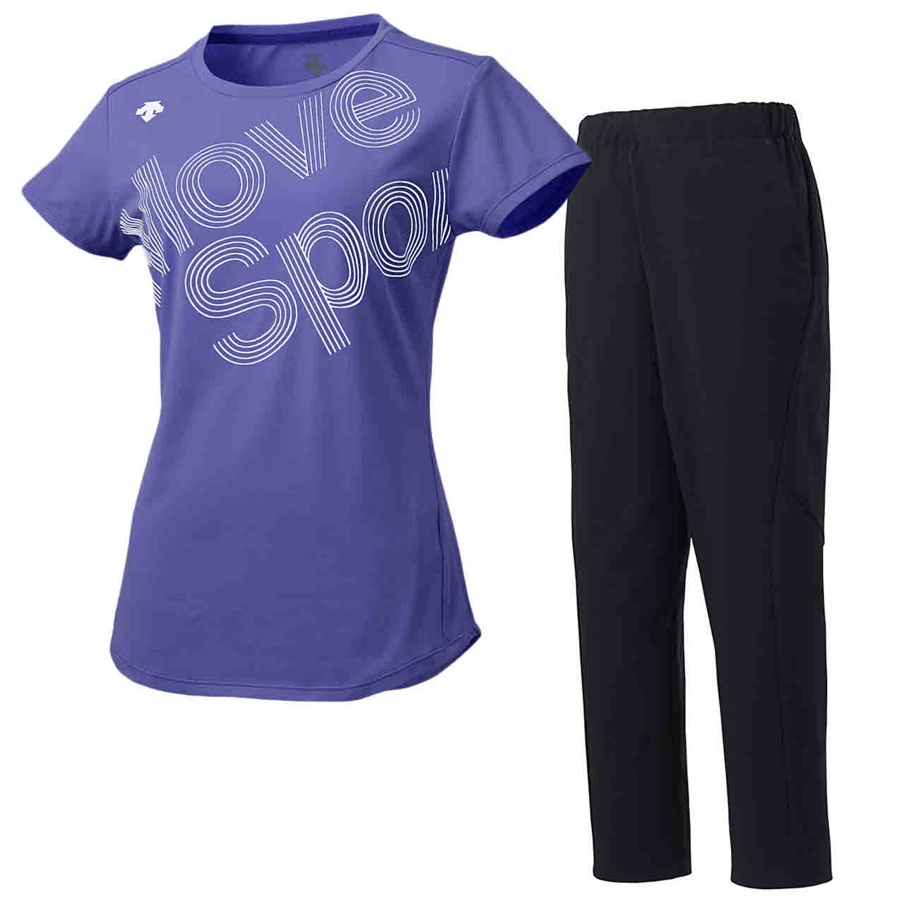 デサント DESCENTE レディース サンスクリーン 半袖Tシャツ&ロングパンツ上下セット パープル×ブラック