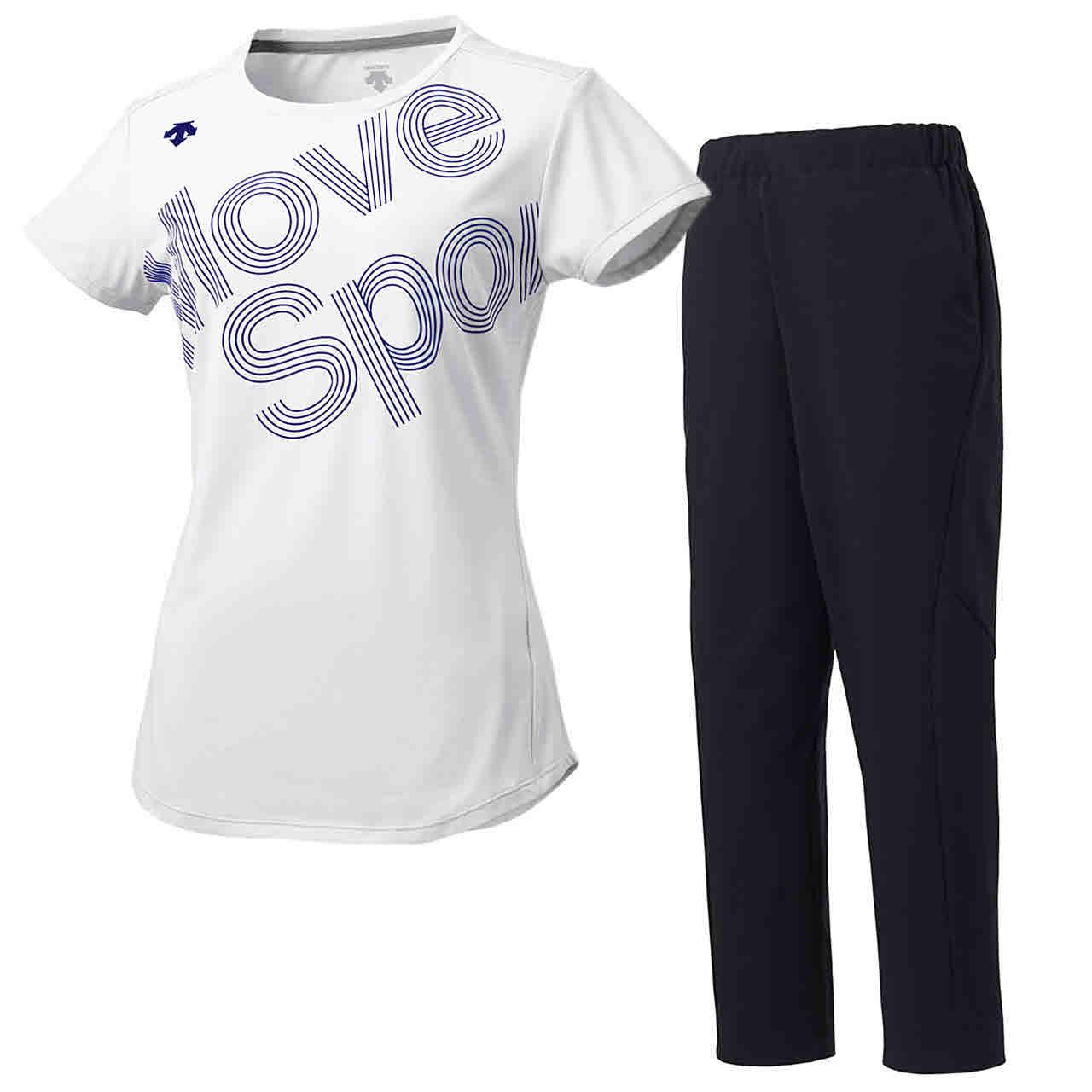 デサント DESCENTE レディース サンスクリーン 半袖Tシャツ&ロングパンツ上下セット ホワイト×ブラック