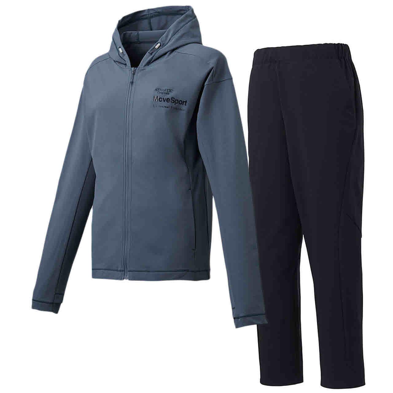 デサント レディース サンスクリーン フルジップシャツパーカー&ロングパンツ上下セット ブルーグレー×ブラック