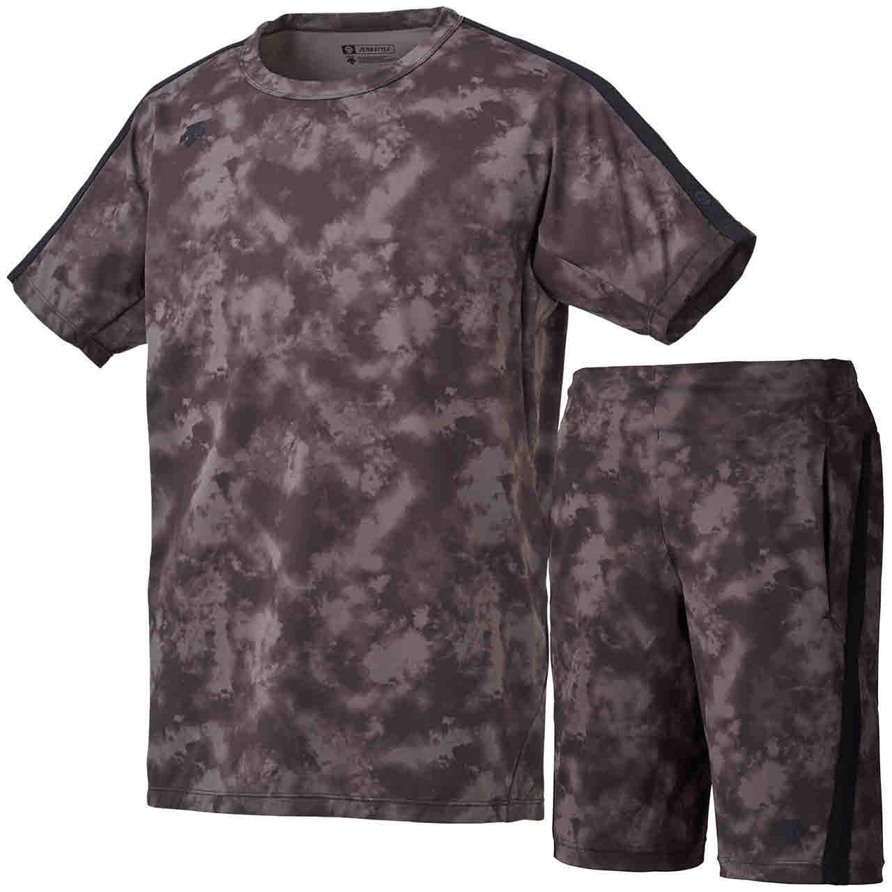 デサント サンスクリーン Tシャツ&ライトショーツ 上下セット ブラック×ブラック DESCENTE S-DS-DMMPJA04Z-BK