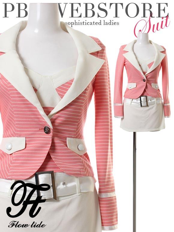 FlowTide スーツ フロータイド キャバスーツ ナイトスーツ デザインスーツ ピンク 7号 S 9号 M 14-61780 クラブ スナック キャバクラ パ