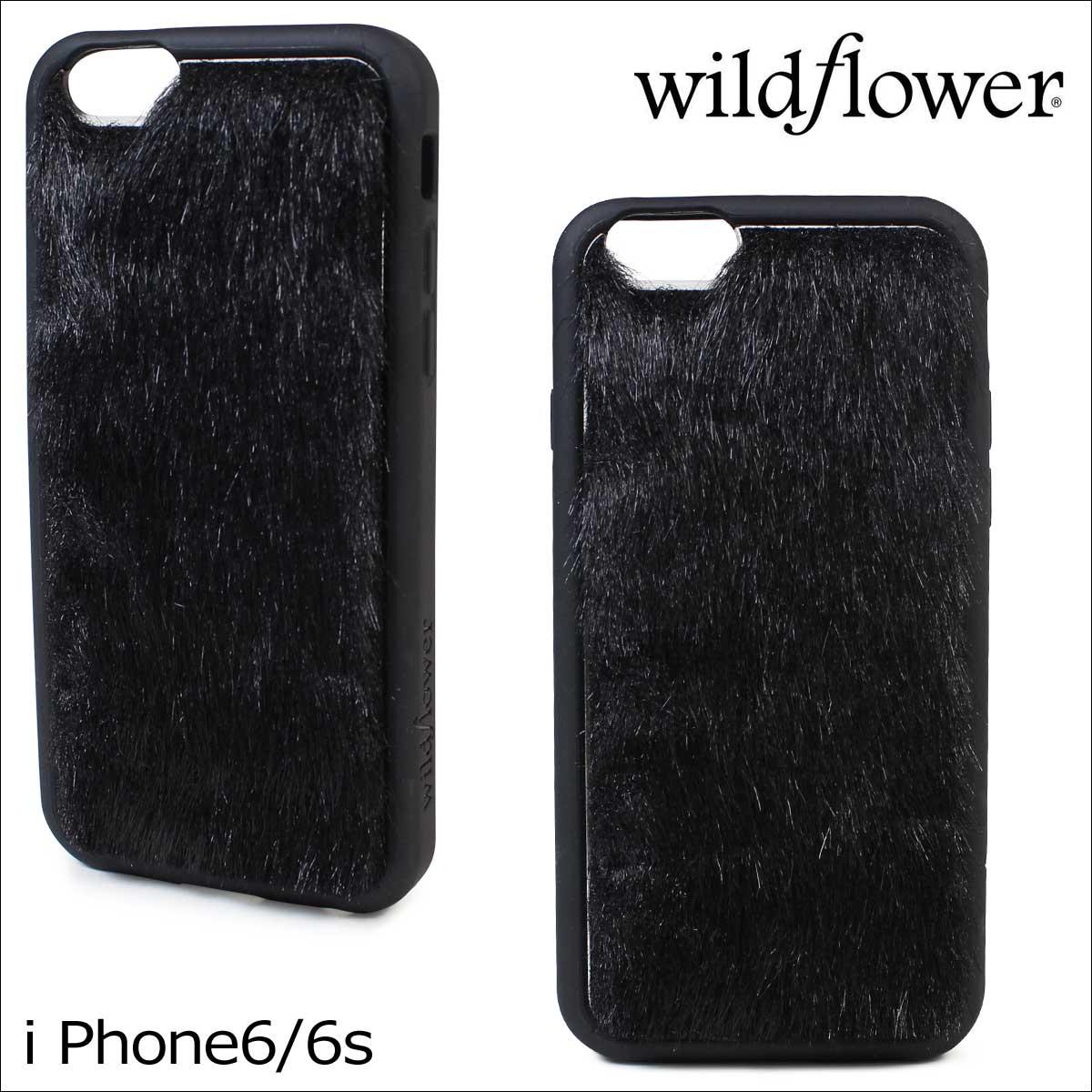 wildflower ワイルドフラワー iPhone8 SE 7 6 6s ケース スマホ 携帯 アイフォン レディース ブラック 黒 BFUR ネコポス可