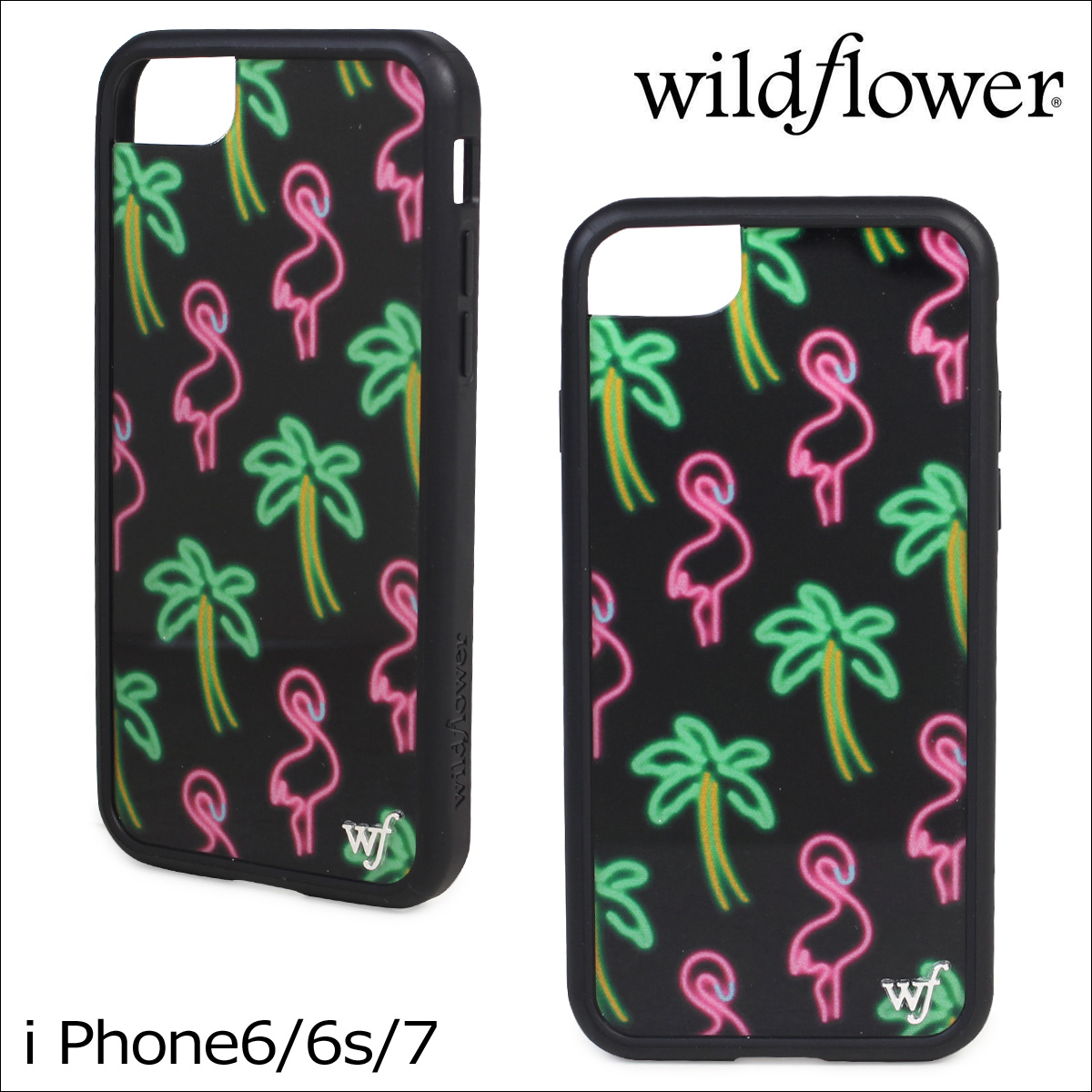 wildflower ワイルドフラワー iPhone8 SE 7 6 6s ケース スマホ 携帯 アイフォン レディース ブラック 黒 MIAM ネコポス可