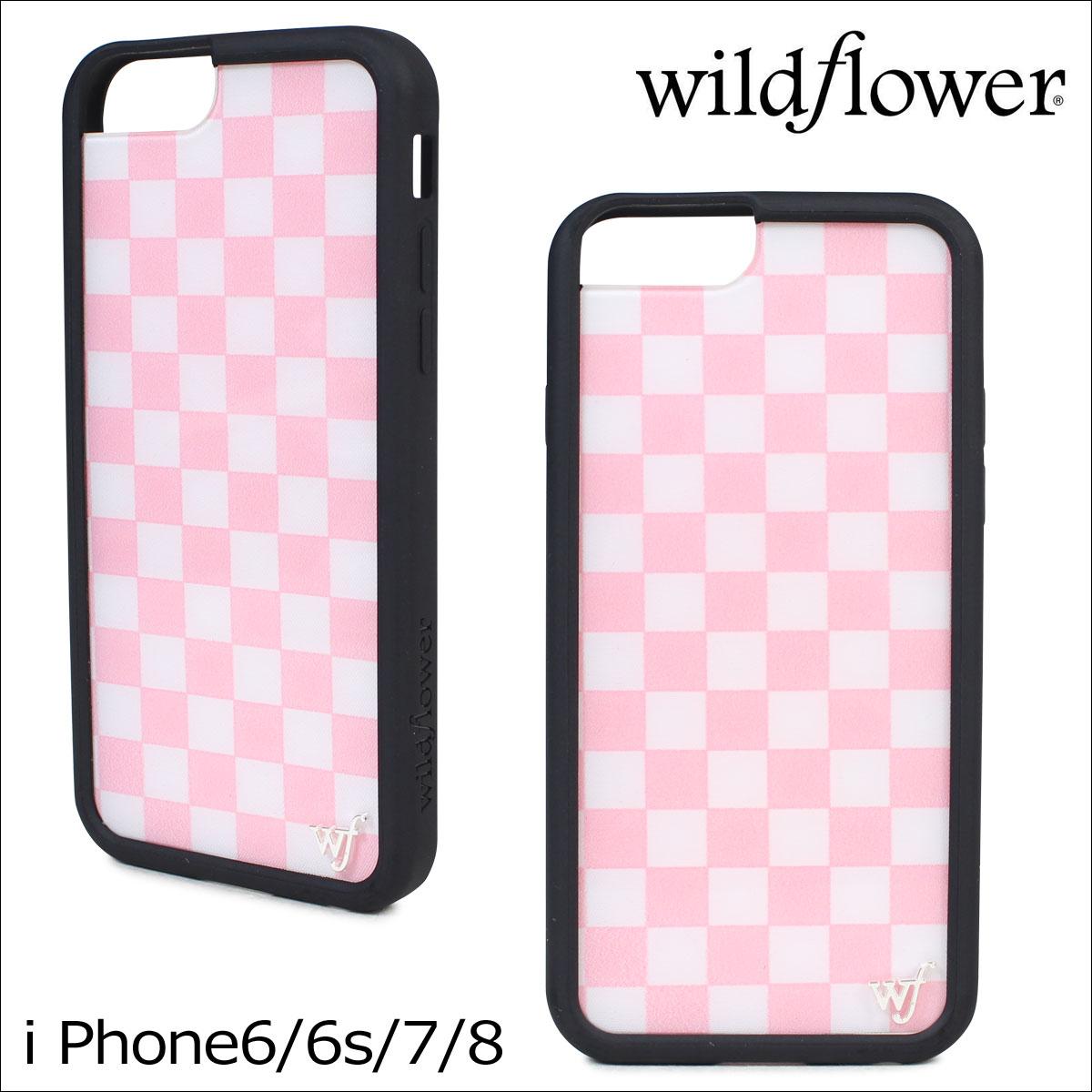 wildflower ワイルドフラワー iPhone8 SE 7 6 6s ケース スマホ 携帯 アイフォン レディース チェッカー ピンク PCHE ネコポス可