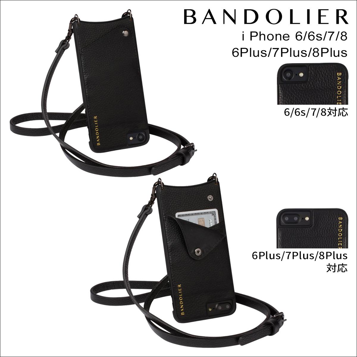 BANDOLIER バンドリヤー iPhone SE 8 7 6 6s/Plus ケース スマホ 携帯 アイフォン プラス EMMA メンズ レディース レザー ブラック