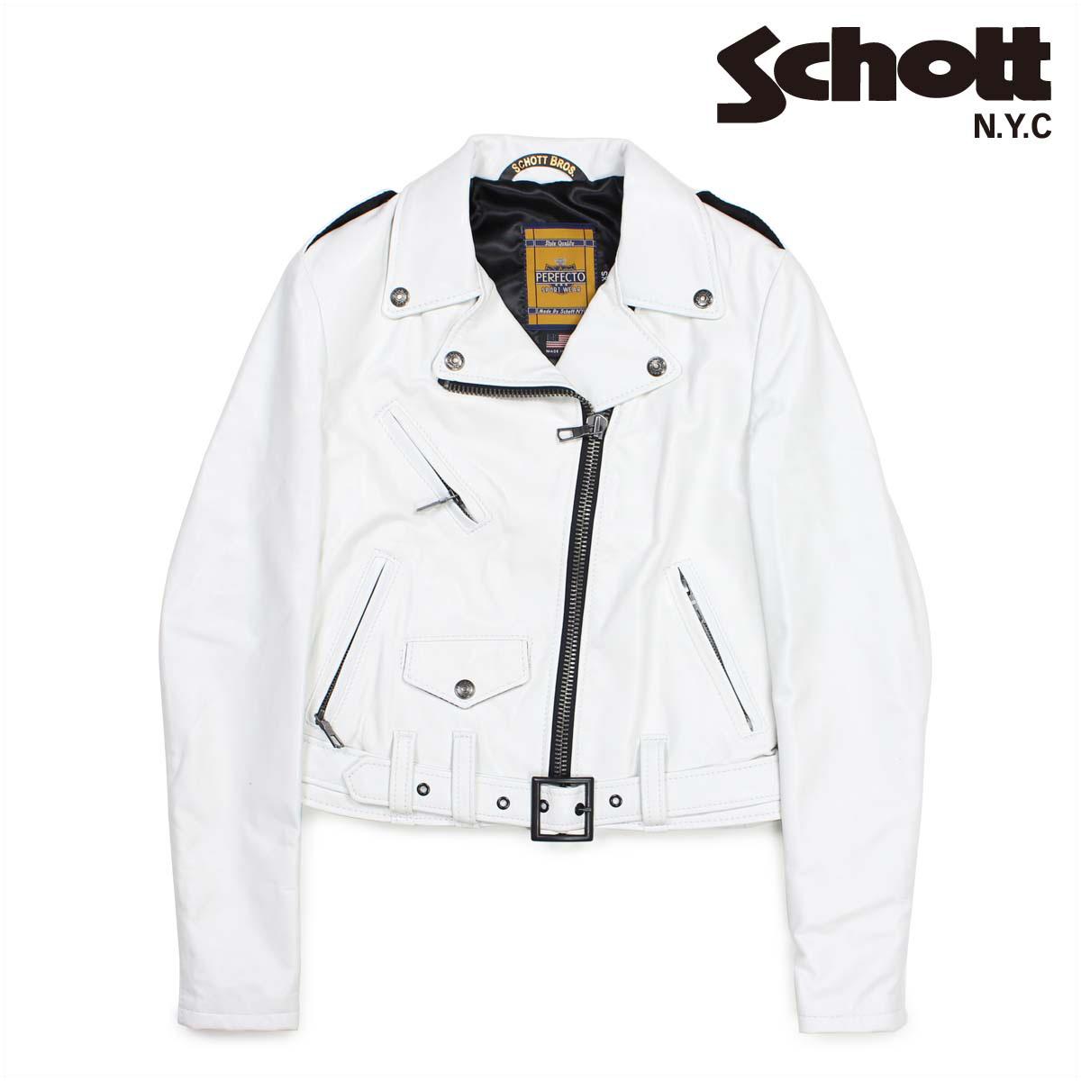 ショット Schott ジャケット ライダースジャケット レディース LAMBSKIN PERFECTO LEATHER JACKET ホワイト SPERW