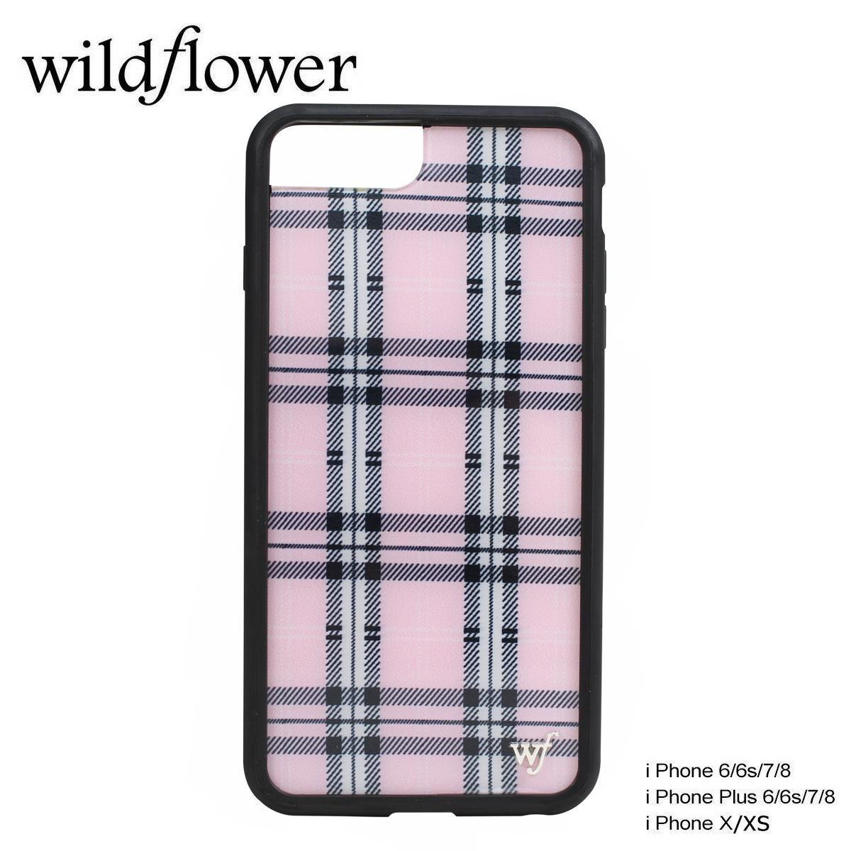 wildflower ワイルドフラワー iPhone8 SE X 7 6 6s Plus ケース スマホ 携帯 アイフォン レディース チェック ピンク PPLA ネコポス可