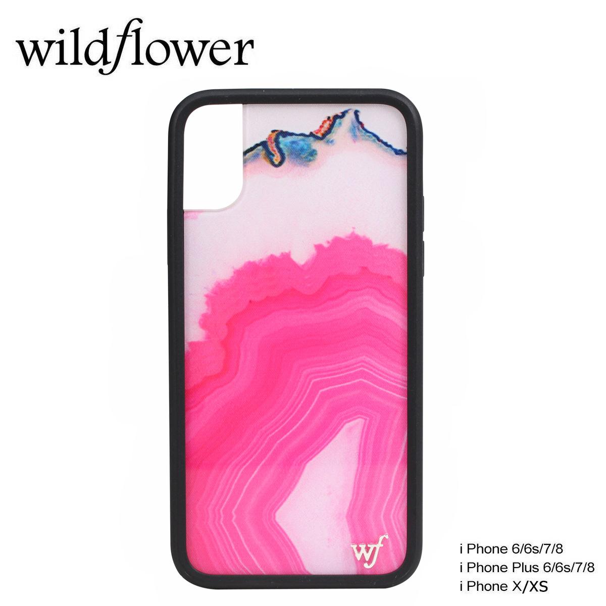wildflower ワイルドフラワー iPhone8 SE X 7 6 6s Plus ケース スマホ 携帯 アイフォン レディース マーブル ピンク MSTOネコポス可