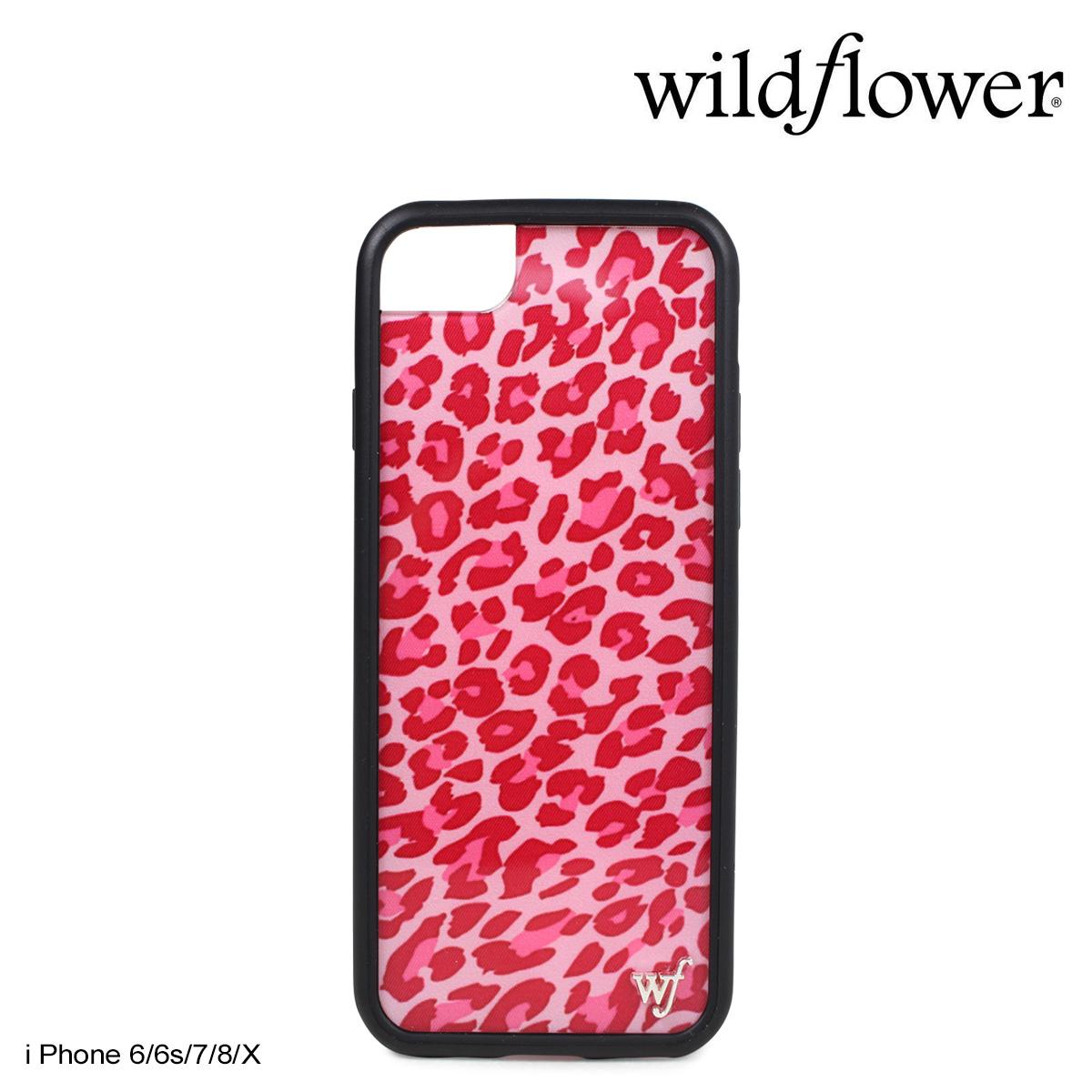wildflower ワイルドフラワー iPhone8 SE X 7 6 6s ケース スマホ 携帯 アイフォン レディース ピンク レオパード ピンク PLEO ネコポス