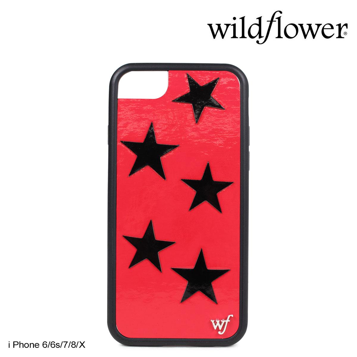 wildflower ワイルドフラワー iPhone8 SE X 7 6 6s ケース スマホ 携帯 アイフォン レディース スター レッド RVIN ネコポス可