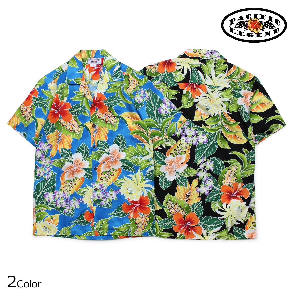 パシフィック レジェンド Pacific legend アロハシャツ メンズ ハワイ製 HAWAIIAN SHIRTS ブラック ブルー 410-3799
