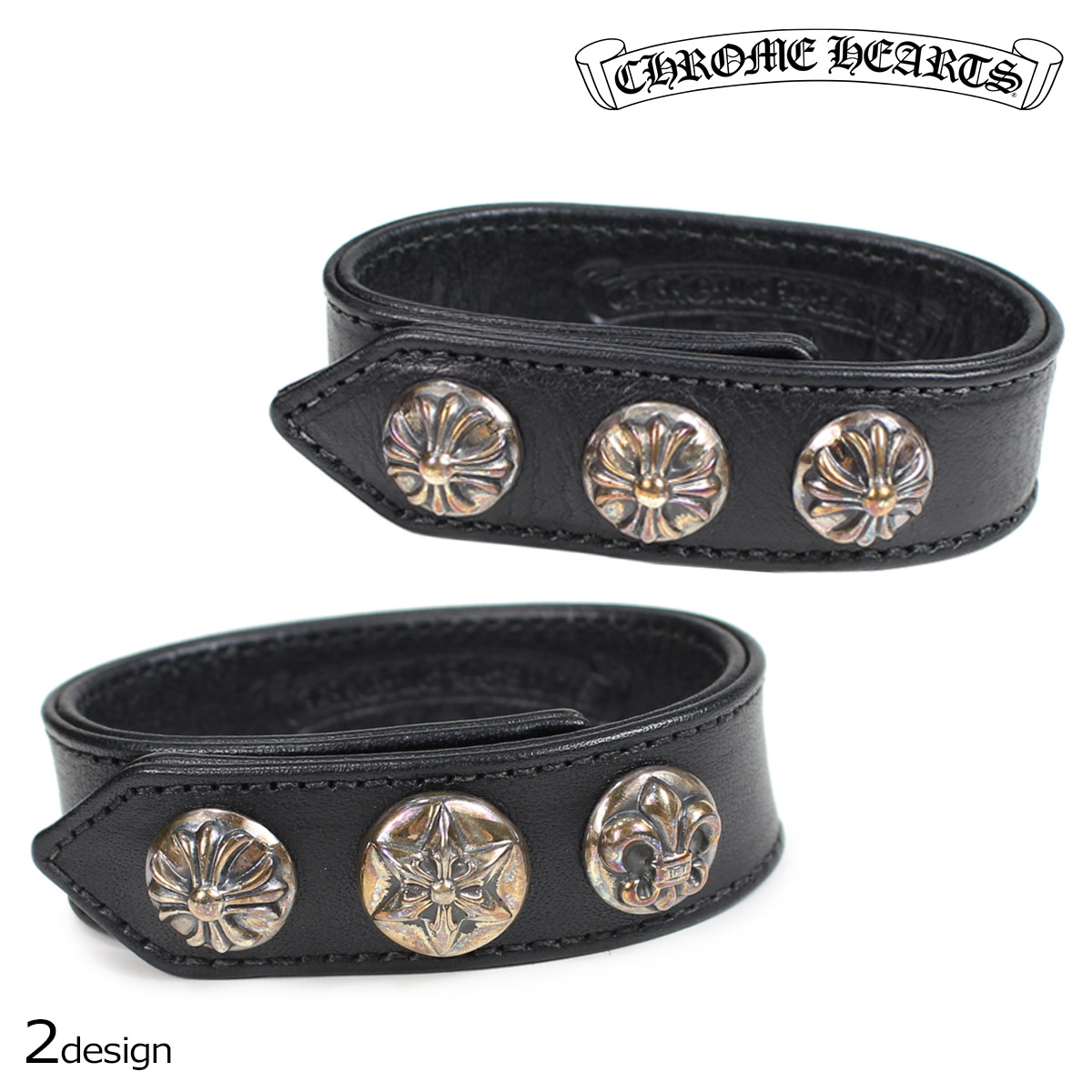 CHROME HEARTS BRACELET 3 BUTTON 2 SNAP CROSS BUTTON VARIOUS BUTTONS クロムハーツ ブレスレット バングル レザー ブラック 188