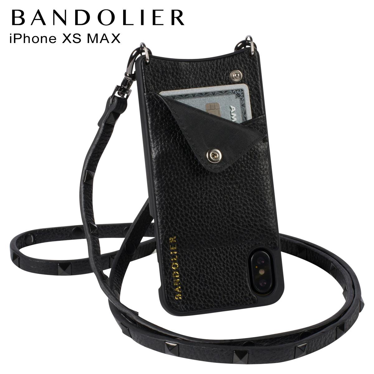 BANDOLIER バンドリヤー iPhone XS MAX ケース スマホ 携帯 ショルダー アイフォン レザー SARAH BLACK メンズ レディース ブラック 10SA