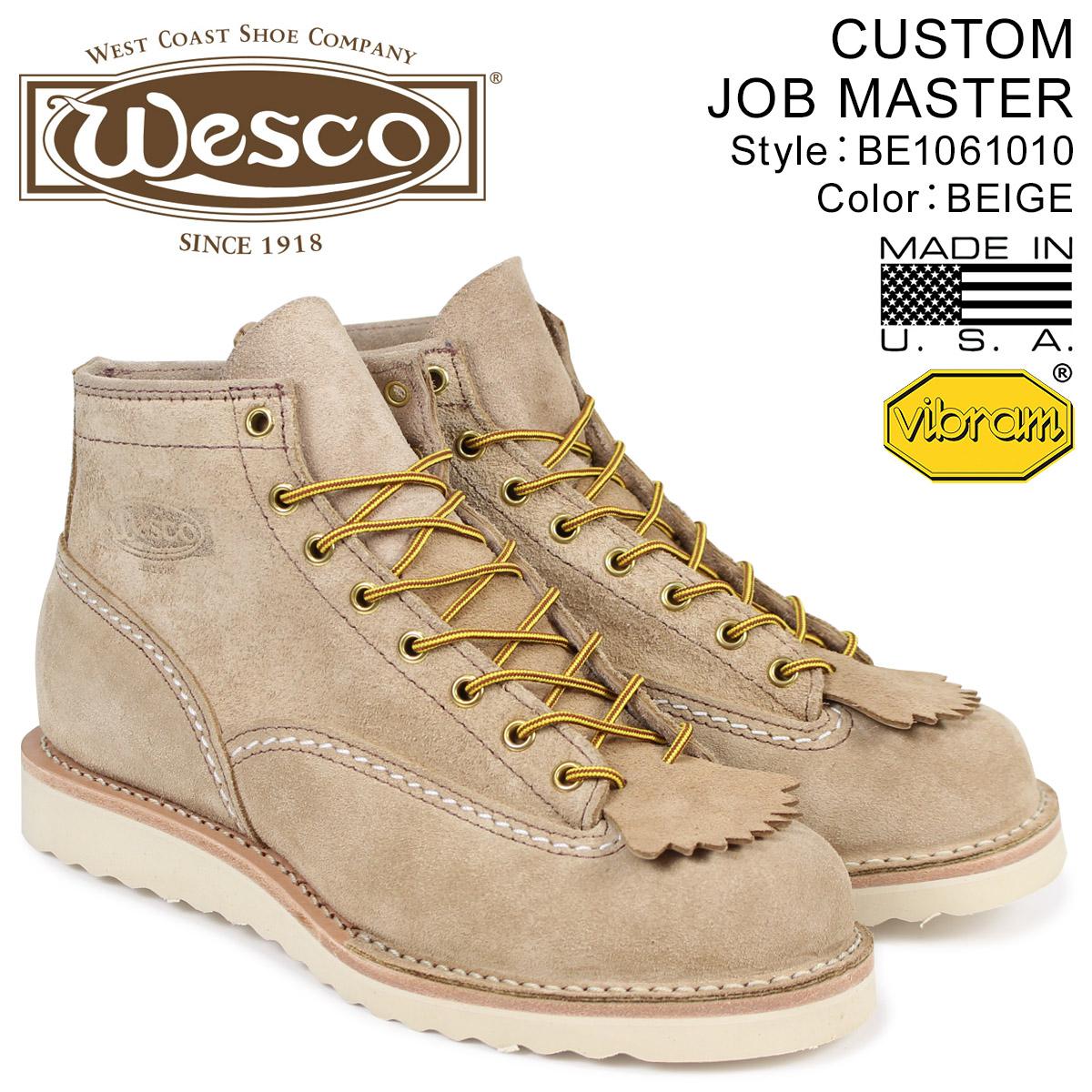 ウエスコ WESCO ジョブマスター ブーツ 6インチ カスタム 6INCH CUSTOM JOB MASTER Eワイズ スエード メンズ ベージュ BE1061010 ウェス