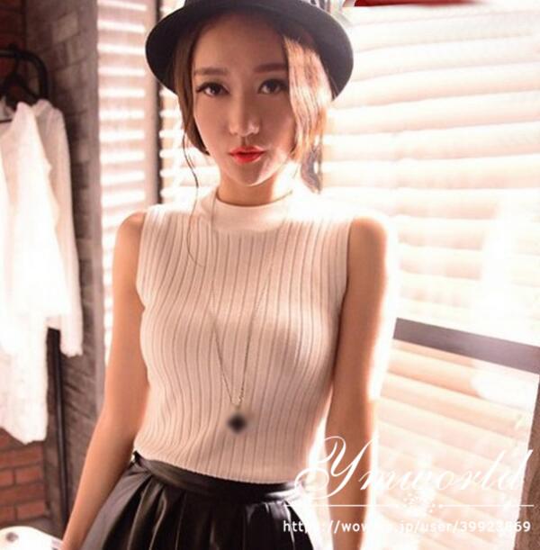 送料無料 ニットベスト トップス レディース ノースリーブ ハイネック 韓国ファッション 無地 カットソー ニットソー おしゃれ