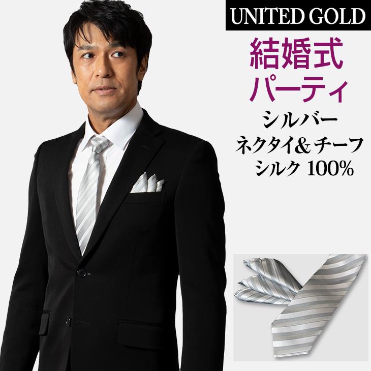 ネクタイポケットチーフセット メンズ シルバー シルク絹 7.5センチ幅 レギュラーネクタイ 結婚式 ak1510sv〈ゆうパケット〉