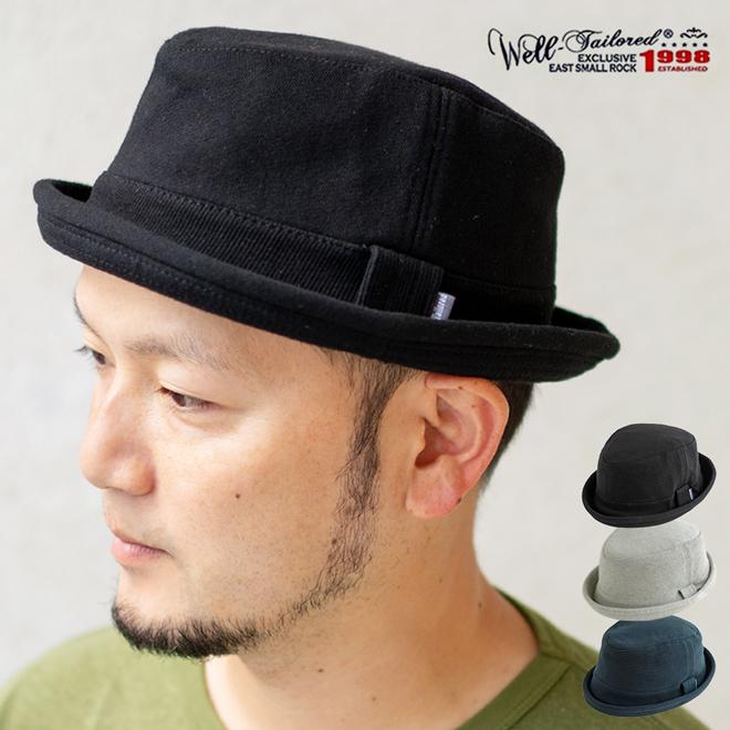 Well Tailored ソフトスウェットポークパイハット 帽子 メンズ レディース 男女兼用 綿 コットン フリーサイズ 大きいサイズ 無地 ブラッ