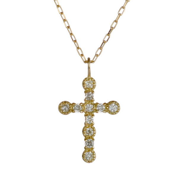 ネックレス K10イエローゴールド 10金 K10 10k ダイヤモンド クロス 人気 おすすめ レディース 女性