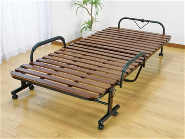 天然木すのこ折りたたみベッド セミダブル