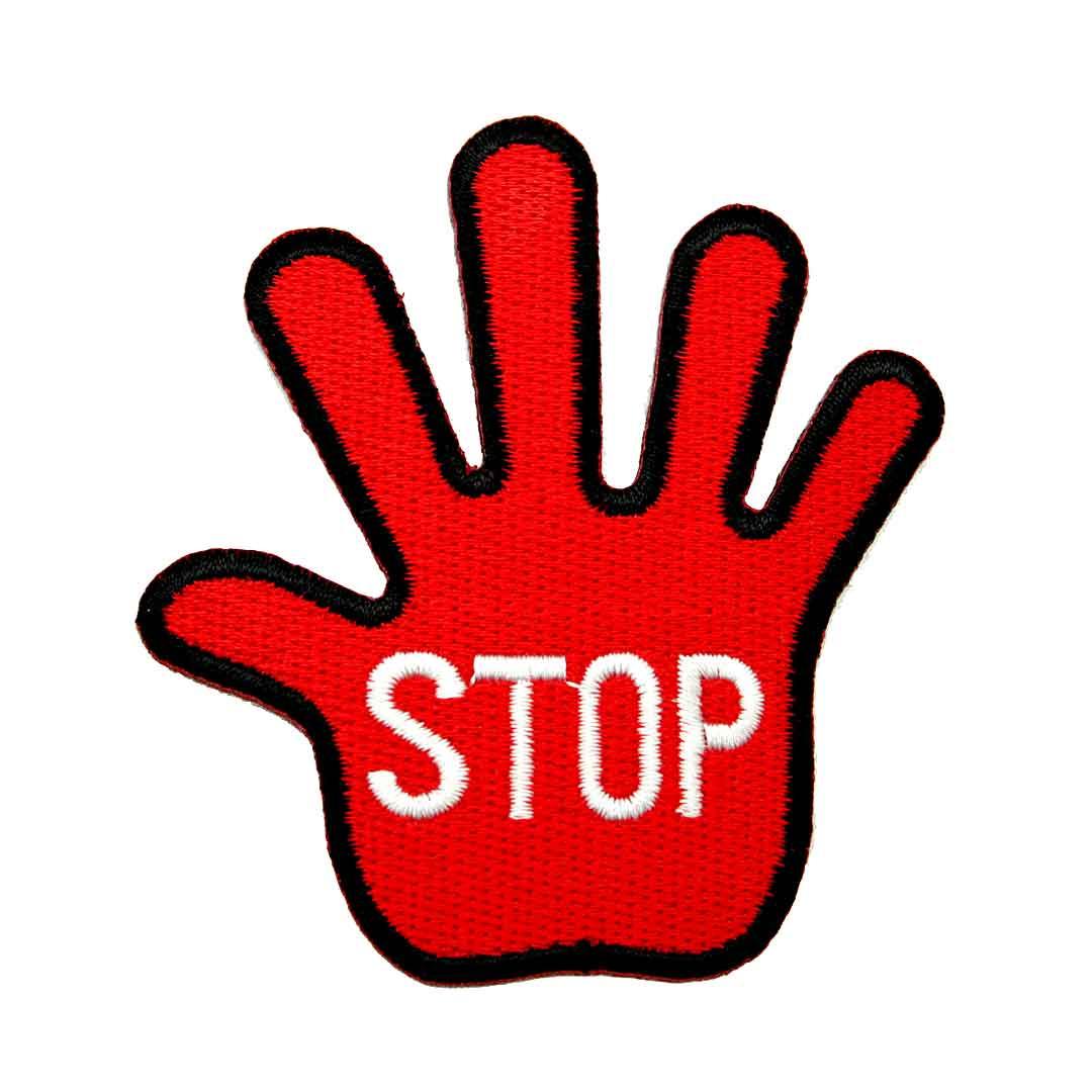 ワッペン アップリケ STOP メッセージ わっぺん wappen アイロンで簡単貼り付け