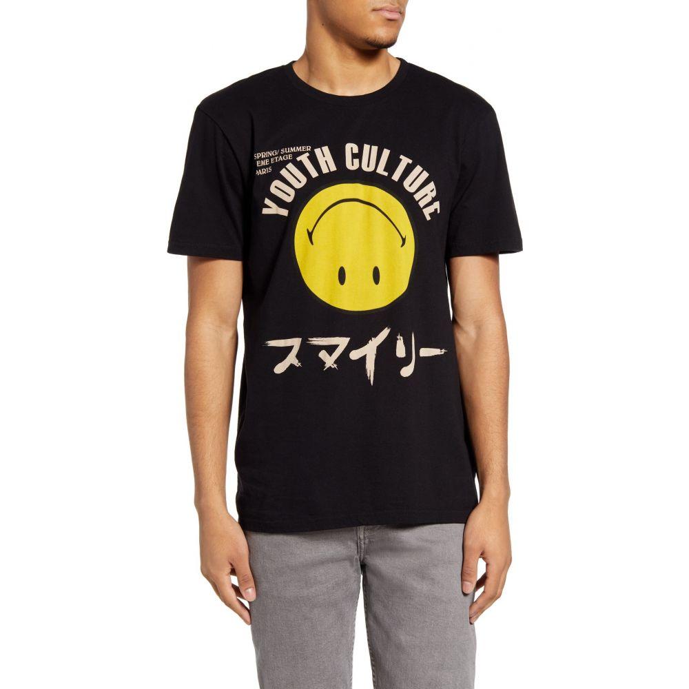 イレブン パリ ELEVENPARIS メンズ Tシャツ トップス Lirou Smiley Graphic Tee Black