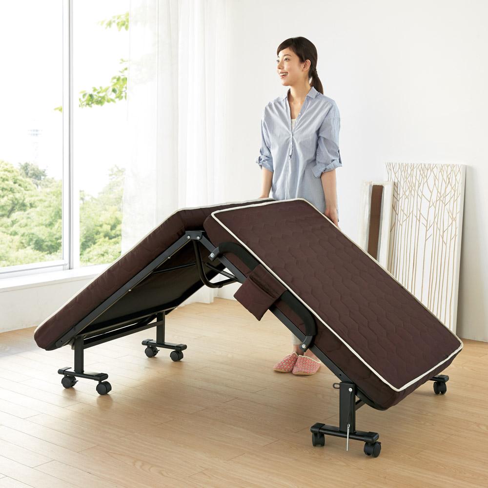 ベッド 寝具 布団 パイプベッド アイアンベッド 届いたらすぐに使える組立不要 高反発マットレスワンタッチ軽量折りたたみベッド 546532