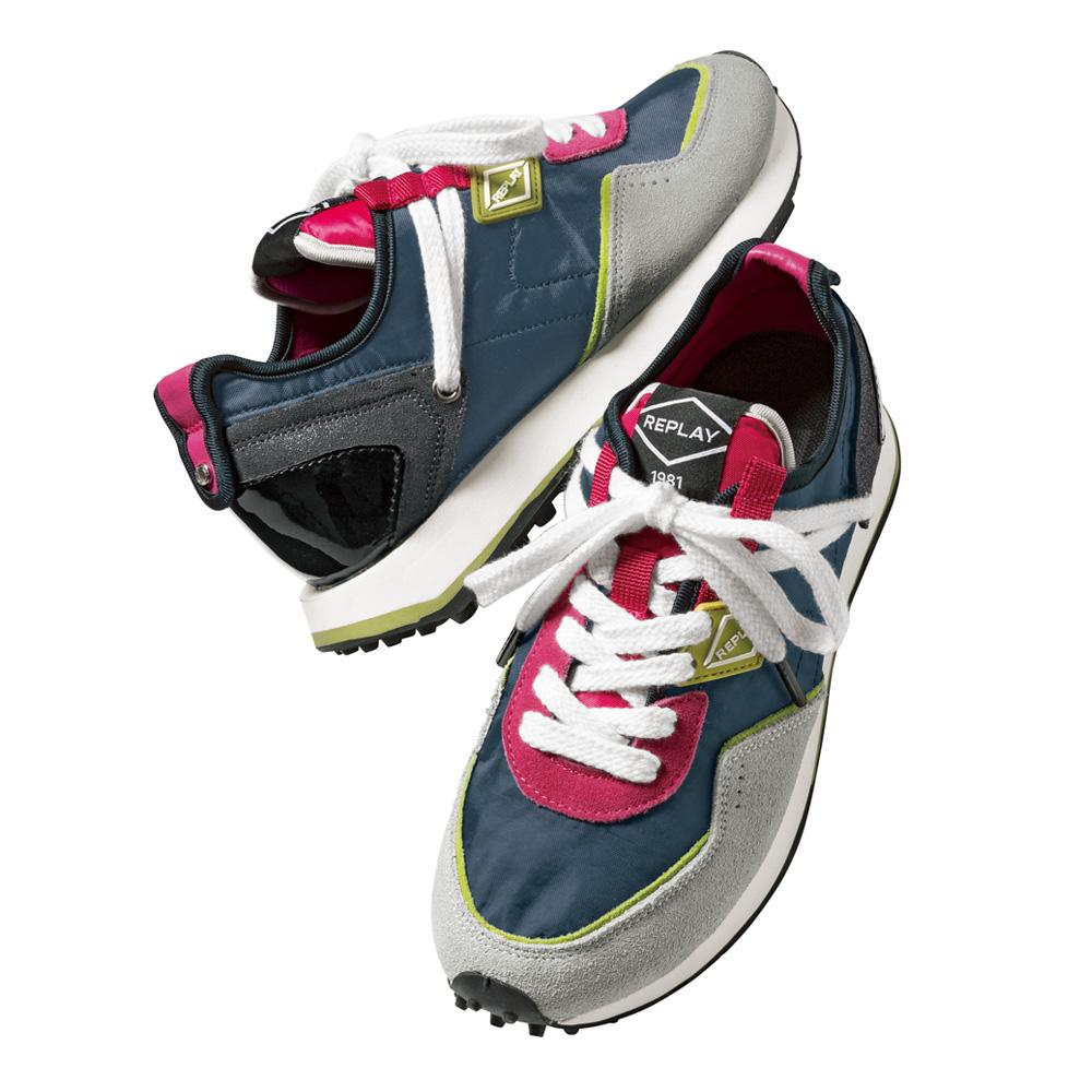 バッグ 靴 アクセサリー スニーカー コンフォートシューズ ヒールスニーカー REPLAY/リプレイ 配色スニーカー 201206