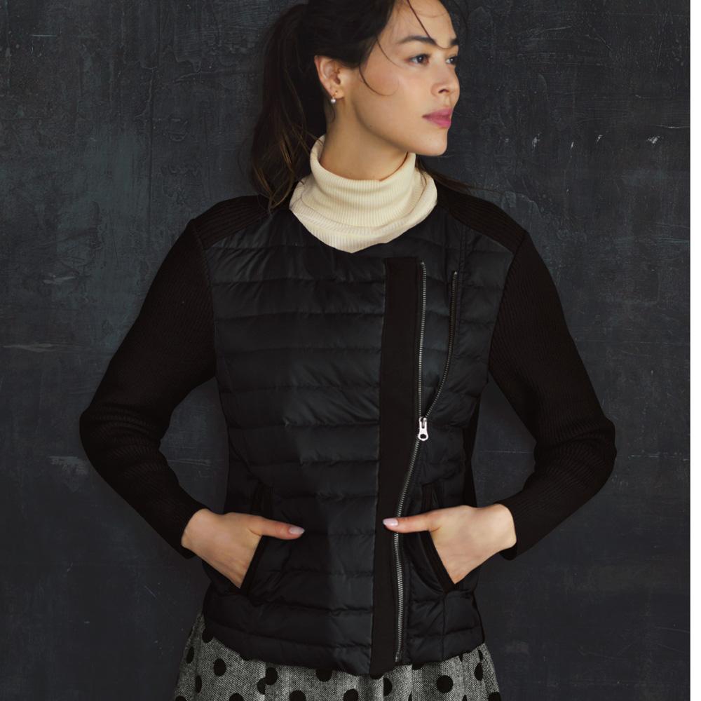 ファッション ジャケット ブルゾン ダウンドッキング リブニットブルゾン 201603