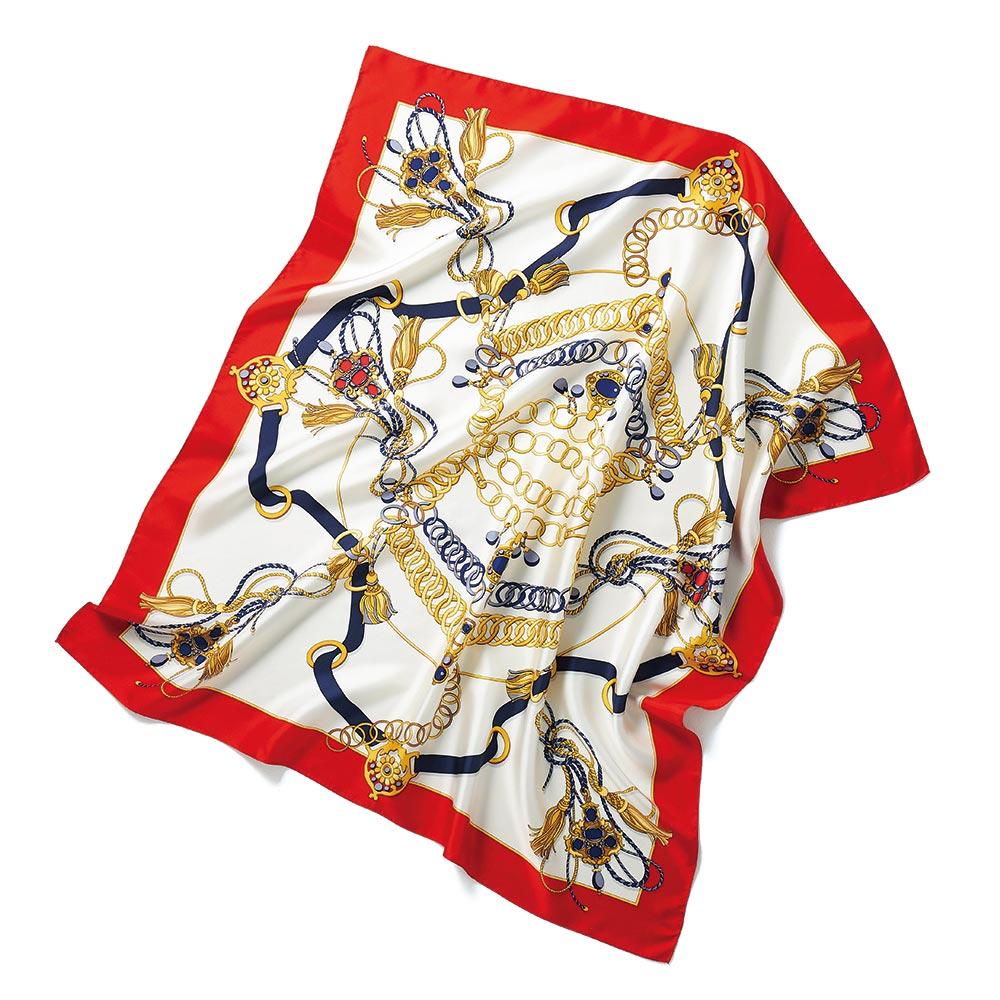 バッグ 靴 アクセサリー ストール スカーフ マフラー シルクツイル チェーン柄プリント スカーフ 220304