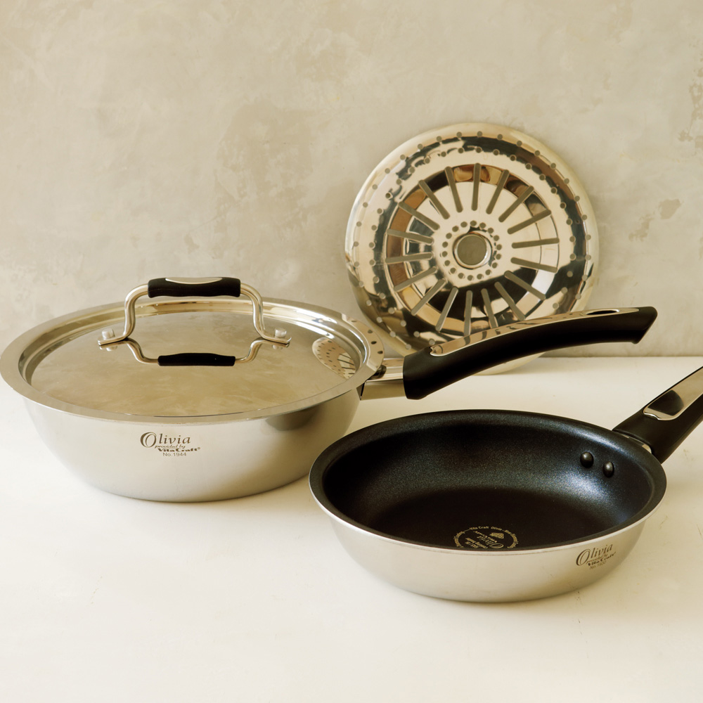 キッチン 家電 鍋 調理器具 vitacraft/ビタクラフト オリビア 特別4点セット(深型24+フライパン20+無水フタ+蒸し板) 594801