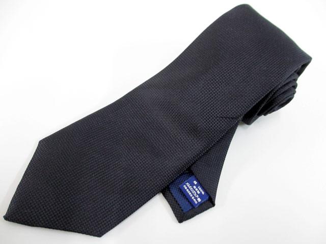 麻布テーラーazabu tailorシルク100%ソリッド ネクタイ黒無地ブラック安心の日本製剣先幅8センチ 新品同様(qz11817)