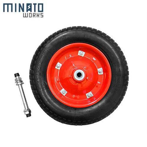 ミナト 一輪車用 空気入りタイヤ MW-13x3.25A (赤/13インチ/替えシャフト付き)